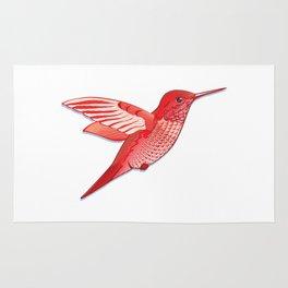 Red hummingbird colibri. Rug