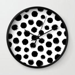 monochrome polka dots Wall Clock