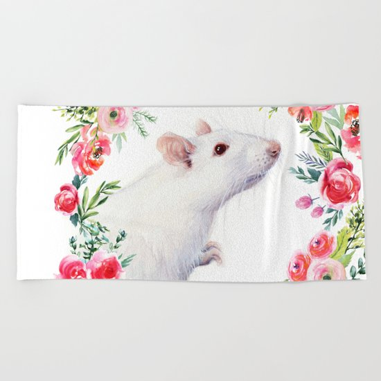 White Rat with Flowers Watercolor Floral Pattern Animal Beach Towel