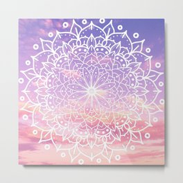 WHITE SUNSET MANDALA Metal Print