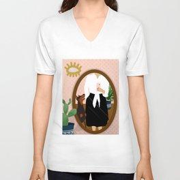 Femme and Fierce // Doberman dog, cactus, evil eye, selfie drawing Unisex V-Neck