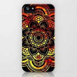 Fiery Sun Mandala iPhone Case