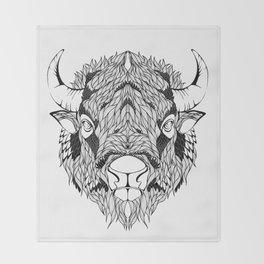 BISON head. psychedelic / zentangle style Throw Blanket