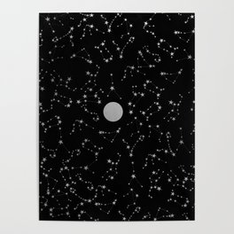 Full Moon and Star Constellations Silver in Black Poster