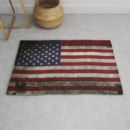American Flag, Old Glory in dark worn grunge Rug