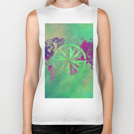 world map wind rose 6 #worldmap #map Biker Tank