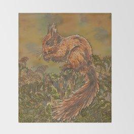 September Squirrel Throw Blanket