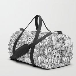 animal ABC black white Duffle Bag