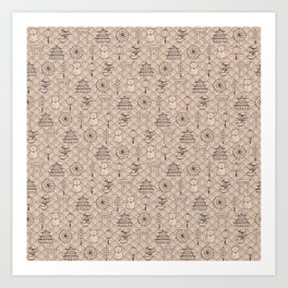 Retro asian pattern Art Print