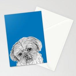 Shih Tzu Dog Portrait ( blue background ) Stationery Cards