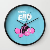 quibe Wall Clocks featuring Coupling up (accouplés) Finding Emo by quibe