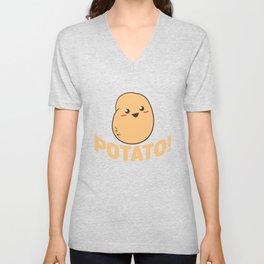 Cute Potato Smiling - Funny Vegetable Food Unisex V-Neck