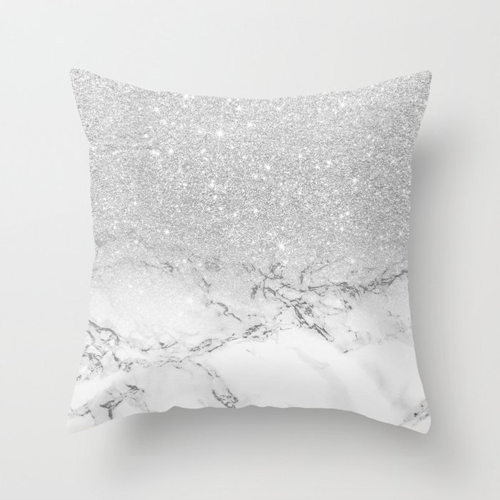 Modern Faux Grey Silver Glitter Ombre White Marble Throw Pillow By