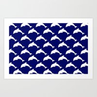 dolphins Art Prints featuring Dolphins by The Wellington Boot