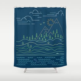Outdoor solitude - line art Shower Curtain