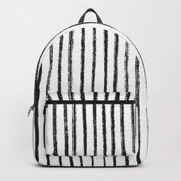 Black Dry Brush Line Pattern (Vertical) Backpack