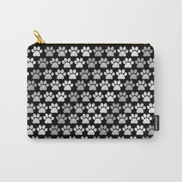 Paw Prints Pattern - Monochrome Carry-All Pouch