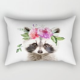 Baby Raccoon with Flower Crown Rectangular Pillow