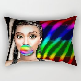 Retro Pinup Girl Rainbow Bubble Gum & Zebra Print Rectangular Pillow
