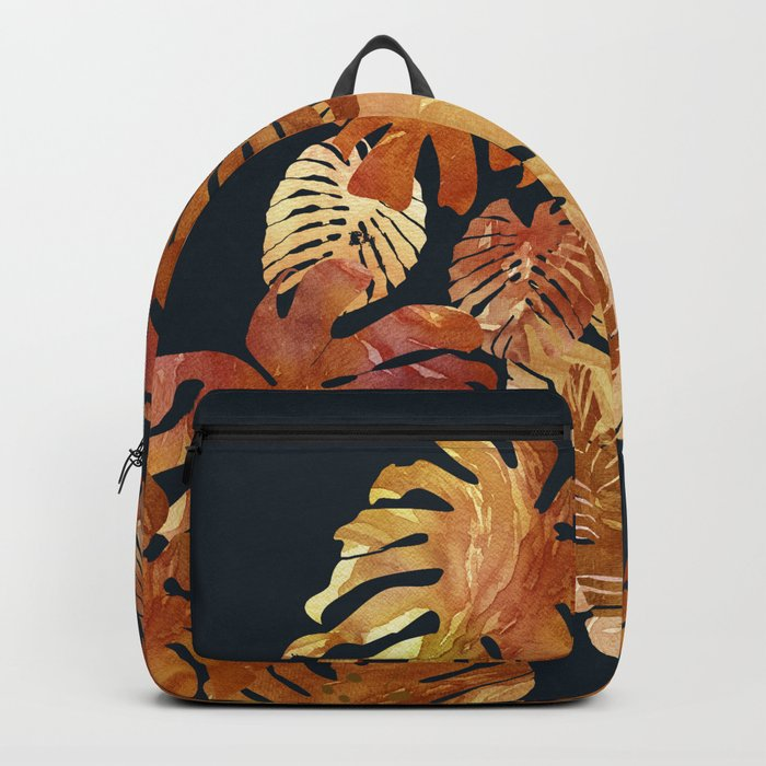 Hot Tropical Leaves at Night Backpack