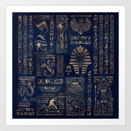 Egyptian hieroglyphs and deities-gold on blue marble Art Print