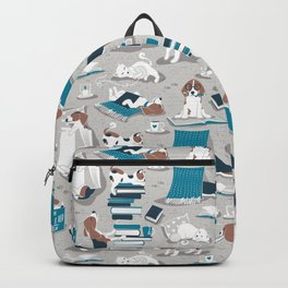 Life is better with books a hot drink and a friend // grey background brown white and blue beagles and cats and turquoise cozy details Backpack