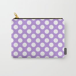 Polka Dots, Spots (Dotted Pattern) - Purple White Carry-All Pouch