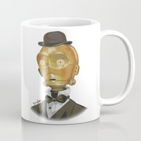 c3po Mugs featuring Sir C3PO by theMAINsketch