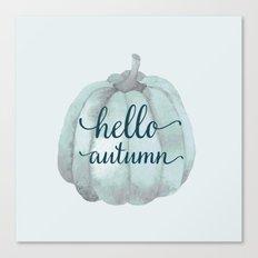hello autumn blue pumpkin Canvas Print