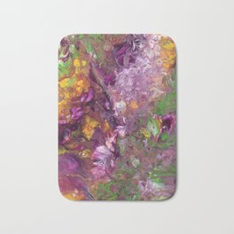 Abstract Floral Acrylic Painting Bath Mat
