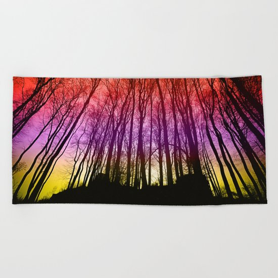 Colorful forest silhoutte Beach Towel