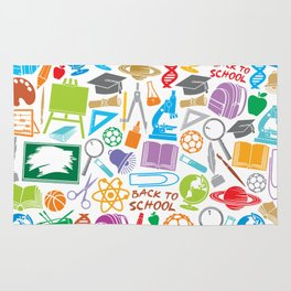 education and school icons background (seamless pattern) Rug