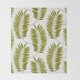 Olive Green Watercolor Palm Leaves Pattern Throw Blanket