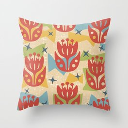 Mid Century Modern Butterfly Garden 201 Throw Pillow