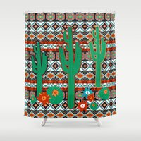 southwest Shower Curtains featuring Southwest Cactus by Vannina