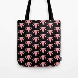 Patterned Happy Uterus in Black Tote Bag