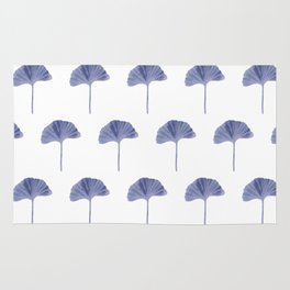 Blue Ginko Leaf - Minimalist Nature Rug