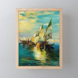 Scene with Sailboats landscape by Robert Rafailovich Falk Framed Mini Art Print