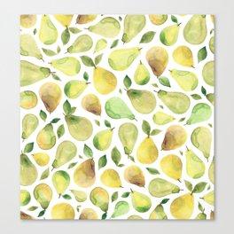Watercolour Pears Canvas Print