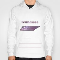 tennessee Hoodies featuring Tennessee Map by Roger Wedegis