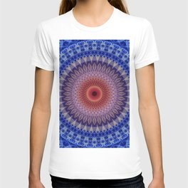 Blue, lilac and orange mandala T-shirt