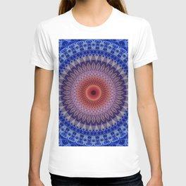 Blue, lilac and orange mandala T-shirt