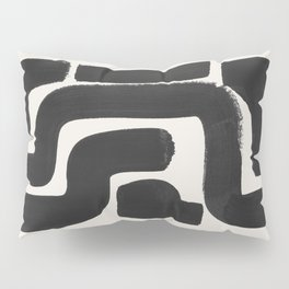Black Ink Paint Brush Strokes Abstract Organic Pattern Mid Century Style Pillow Sham