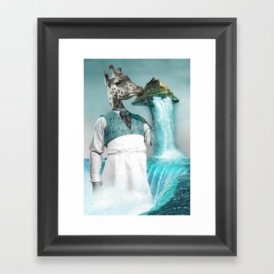 crazy waiter with bombe alaska Framed Art Print