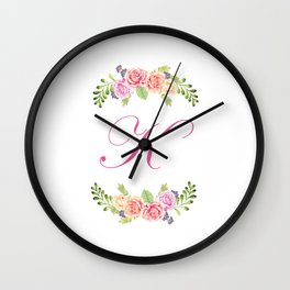 Floral Initial Letter K Wall Clock