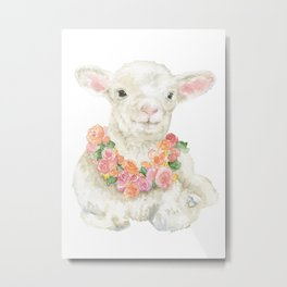 Baby Lamb Floral Watercolor Farm Animal Metal Print