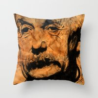 einstein Throw Pillows featuring EINSTEIN by DeMoose_Art