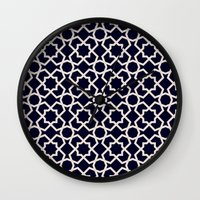 morocco Wall Clocks featuring Morocco by Patterns and Textures