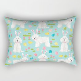 Bichon Frise dog breed pet portrait custom dog art easter spring dog costume Rectangular Pillow