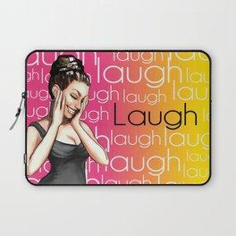 Retro Pinup Girl Laugh Typography Laptop Sleeve